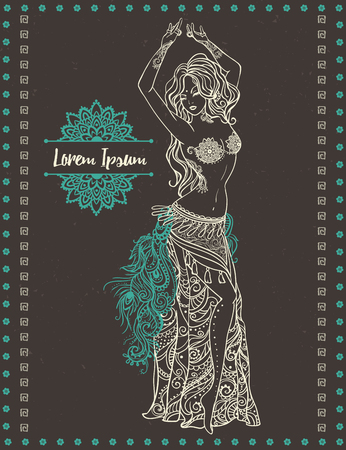 bellydance: Ornament beautiful card with girl belly dance. Mehenidi element hand drawn. Perfect  cards for any other kind of design, oriental dance, kaleidoscope,  medallion, yoga, india, arabic Illustration