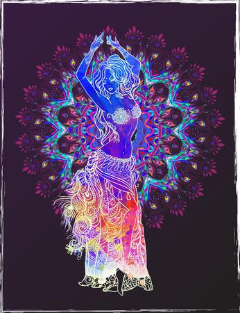 alzando la mano: Ornamento tarjeta hermosa con la danza del vientre niña. Dibujado elemento geométrico mano. Tarjetas perfectas para cualquier otro tipo de diseño, cumpleaños y otro día de fiesta, caleidoscopio, medallón, el yoga, la india, árabe Vectores