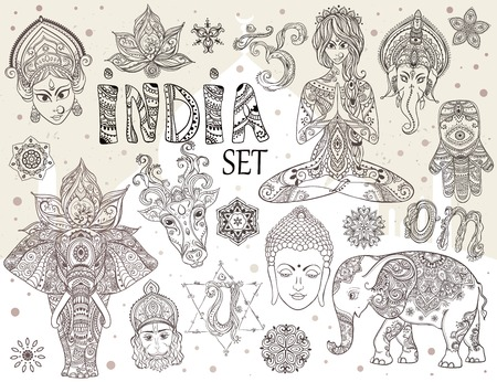 india culture: Big set with elements of Indian culture. Gods Ganesha, Navratri, Hanuman. Lord Buddha. Lotus, chakras, yoga posses. Ornamental elephant and mandalas. Hamsa for luck. Medallion, yoga, india, arabic Illustration