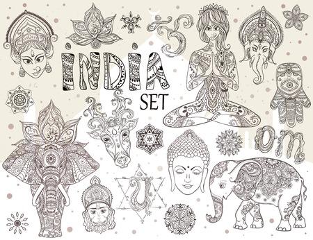 Big set with elements of Indian culture. Gods Ganesha, Navratri, Hanuman. Lord Buddha. Lotus, chakras, yoga posses. Ornamental elephant and mandalas. Hamsa for luck. Medallion, yoga, india, arabic Stock Illustratie