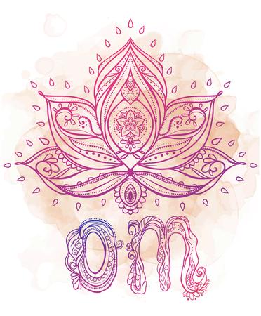 観賞用自由奔放に生きるスタイル ロータスの花。幾何学的な要素の手描き。デザイン、誕生日やその他の休日の他の種類のカードを完璧な円形浮彫