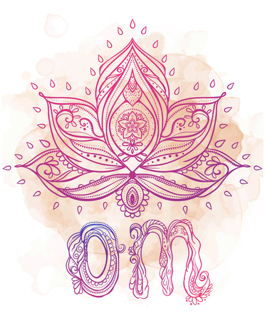 lotus leaf: Ornamental Boho Style lotus Flower. Geometric element hand drawn. Perfect  cards for any other kind of design, birthday and other holiday, medallion, yoga, india, arabic, om