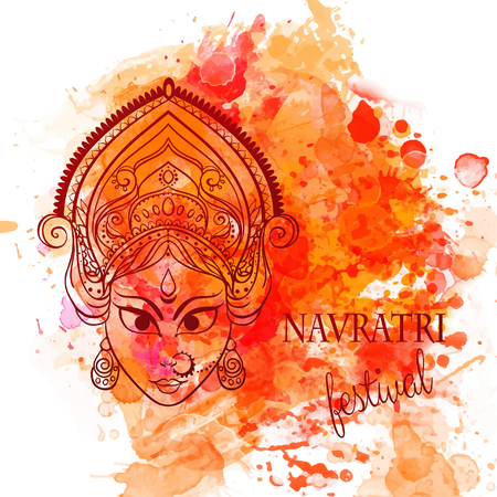 navratri: Ornament card with of Maa Durga. Illustration of Happy Navratri and Happy Diwali. Perfect cards for any other kind of design, birthday and other holiday, kaleidoscope, medallion, yoga, india, arabic