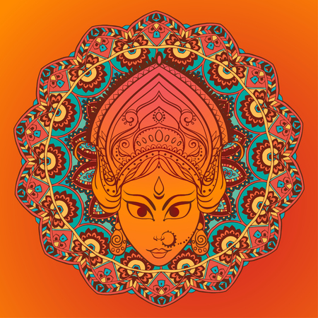 shubh diwali: Ornament card with of Maa Durga. Illustration of Happy Navratri. Perfect cards for any other kind of design, birthday and other holiday, kaleidoscope, medallion, yoga, india, arabic