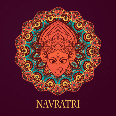 navratri: Ornament card with of Maa Durga. Illustration of Happy Navratri. Perfect cards for any other kind of design, birthday and other holiday, kaleidoscope, medallion, yoga, india, arabic