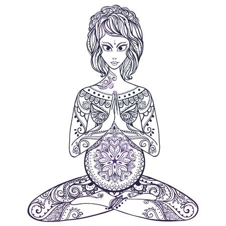 妊娠中の女性のためのベクトル ヨガで美しいカードです。健康的な生活、要素手描き。デザイン、ヨガ センターのコンセプト、母親、赤ちゃんの円  イラスト・ベクター素材