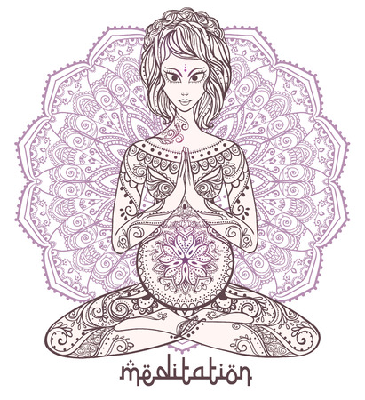 woman meditation: Vector yoga card for pregnant women. Healthy life, element hand drawn. Perfect cards for any other kind of design, yoga center concept, mother, baby  medallion, yoga, india, mandala, kaleidoscope
