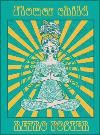 mujer hippie: estilo hippie. Fondo retro ornamentales. Amor y música con las fuentes escritas a mano, chica hippie, niño de flor. ilustración vectorial de color hippy. 1960 retro, 60s, 70s Vectores