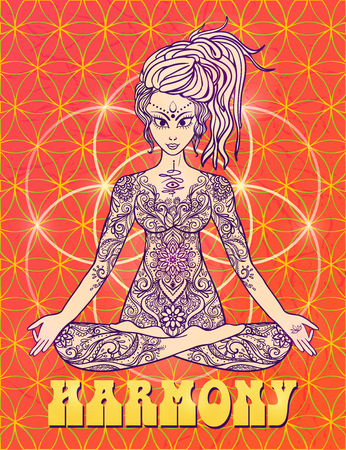 meditates: Girl meditates in the lotus position, peace gesture. Geometric element hand drawn. Psychedelic Poster in the style of 60s, 70s. Sacred Geometry. Yoga.  Promoted peace and love.
