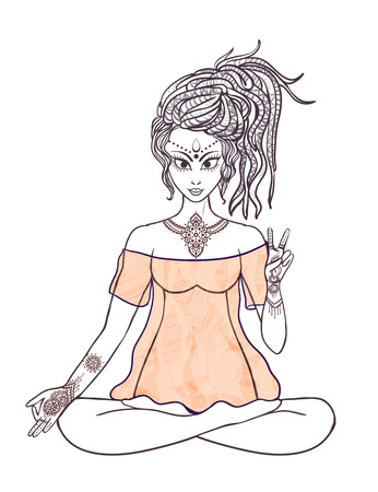 meditates: Girl meditates in the lotus position. Geometric element hand drawn оrnament stylization. Hippie culture. Dreadlocks. Promotion of peace and love