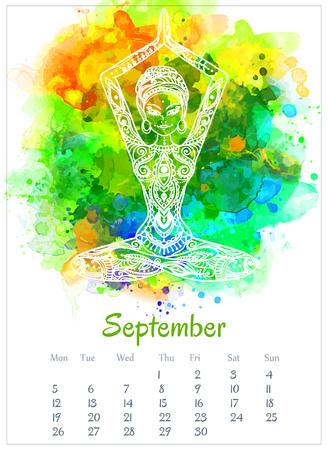 ベクトル ポケット カラー カレンダー 2016 年。ヨガ所有の美しいカードを飾り。カレンダーには、invector が行われました。カラフルな手描きデザイ  イラスト・ベクター素材