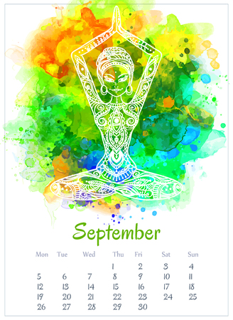 Vector pocket color calendar 2016. Ornament beautiful card with yoga posess. Calendar made invector. Colorful hand drawn design for any other kind of design, birthday and other holiday, yoga, india