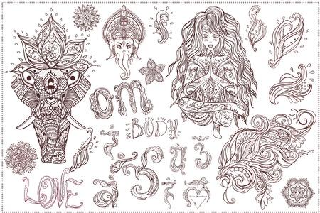 chakra: Ornament beautiful card with Set Vector yoga. Geometric element hand drawn. Girls in yoga pose and ornaments, ganesha, chakra, elephants,  mandalas, kaleidoscope,  medallion, yoga, india, arabic Illustration