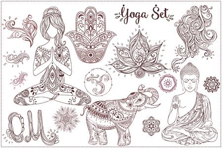 설정 벡터 요가와 장식 아름다운 카드. 기하학적 요소 손으로 그린. 요가에 여자는 장식품, 부처님, 차크라, 코끼리, 함사, 옴 기호, 만다라, 만화경 일러스트