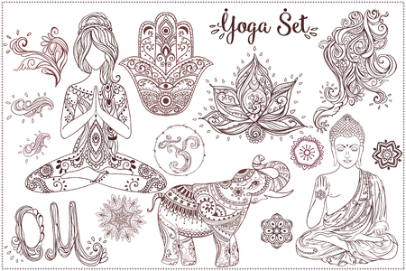 Ornament beautiful card with Set Vector yoga. Geometric element hand drawn. Girls in yoga pose and ornaments, buddha, chakra, elephants, hamsa, om sign, mandalas, kaleidoscope,  medallion, yoga, india Vettoriali