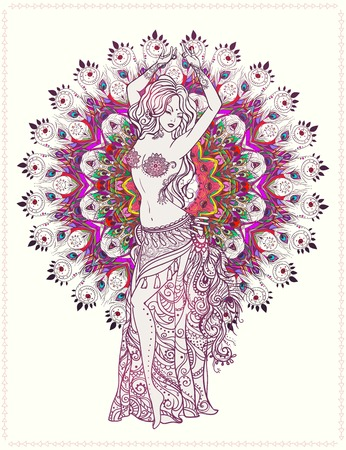 bellydancer: Ornament beautiful card with girl belly dance. Geometric element hand drawn. Perfect  cards for any other kind of design, birthday and other holiday, kaleidoscope,  medallion, yoga, india, arabic