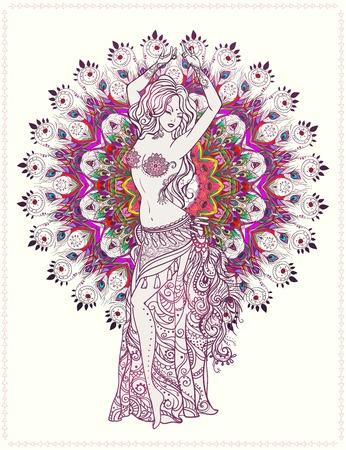 Ozdoba piękne karty z tańcem brzucha dziewczyny. rysowane ręcznie elementem geometryczna. Doskonałe karty dla jakiegokolwiek innego rodzaju wzorów, urodziny i inne święto, Kalejdoskop, medalion, joga, Indiach, arabski