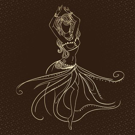 bailarinas arabes: Ornamento tarjeta hermosa con la danza del vientre niña. Dibujado elemento geométrico mano. Tarjetas perfectas para cualquier otro tipo de diseño, cumpleaños y otro día de fiesta, caleidoscopio, medallón, el yoga, la india, árabe Vectores