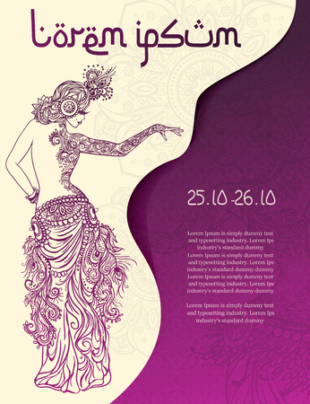 salsa dance: Ornament beautiful card with girl belly dance. Mehndi element hand drawn. Perfect cards for any other kind of design, oriental dance, kaleidoscope, medallion, yoga, india, arabic