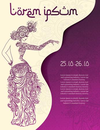 Ornamento tarjeta hermosa con la danza del vientre niña. Dibujado Mehndi elemento mano. Tarjetas perfectas para cualquier otro tipo de diseño, danza oriental, caleidoscopio, medallón, el yoga, la india, árabe Ilustración de vector