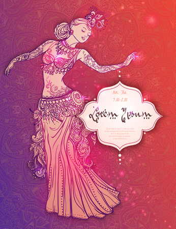 taniec: Ozdoba piękne karty z tańcem brzucha dziewczyny. rysowane ręcznie elementem geometryczna. Doskonałe karty dla jakiegokolwiek innego rodzaju wzorów, urodziny i inne święto, Kalejdoskop, medalion, joga, Indiach, arabski
