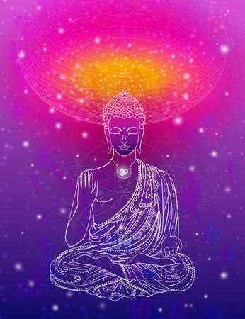 로터스 위치에서 부처님의 동상, 명상. 기하학적 요소 손으로 그린. 60 년대, 70 년대의 스타일 환각 포스터. 신성한 기하학. 평화와 사랑을 프로모