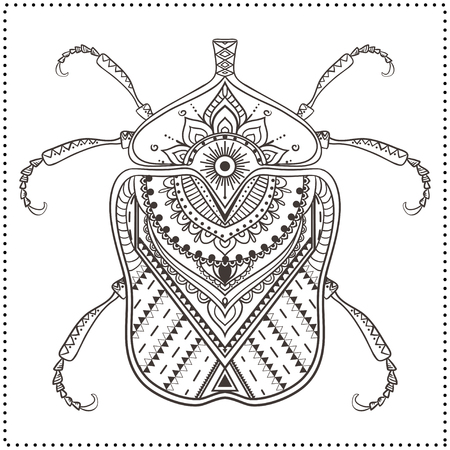 volkswagen: Greeting card with bug. Ornamemtal of Insect made in vector. Perfect cards, or for any other kind of design, coloring book pages. Seamless hand drawn map with  bug ornamental.