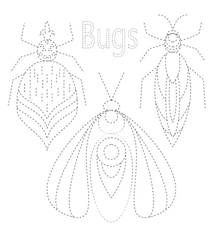 vw: Greeting card with bug. Ornamental of Insect made in vector. Perfect cards, or for any other kind of design, coloring book pages. Seamless hand drawn map with  bug ornamental.