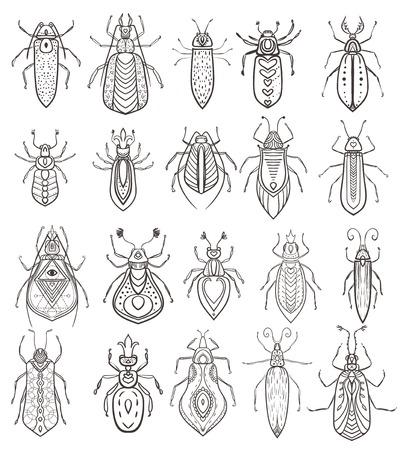 oruga: Tarjeta de felicitación con el insecto. Ornamemtal de insectos hizo en el vector. Tarjetas perfectas, o para cualquier otro tipo de diseño, coloreando las páginas del libro. La mano sin fisuras elaborado un mapa con el insecto ornamental. Vectores