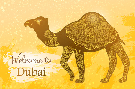 Card with camel and Welcome to Dubai. Animal made in vector. Africa, Turkey, Israel and the United Arab Emirates, India, Egypt. Seamless hand drawn map with camel desert.