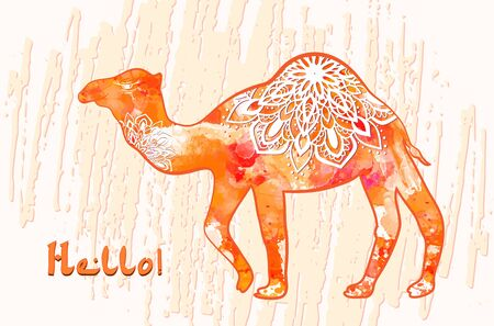 camel silhouette: Greeting card with camel. Ornamemtal of animal made in vector. Perfect cards, or for any other kind of design, birthday and other holiday. Seamless hand drawn map with camel desert.