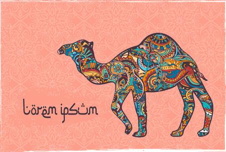 camello: Tarjeta de felicitación con el camello. Ornamemtal de animales hecho en vector. Tarjetas perfectas, o para cualquier otro tipo de diseño, cumpleaños y otro día de fiesta. La mano sin fisuras elaborado un mapa con el desierto en camello.