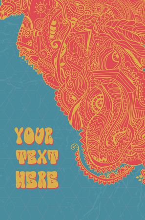 disegnata a mano astratta psichedelica sfondo ornamento illustrazione concetto. design pattern di pizzo. Poster psichedelico in stile anni '60, '70. Geometria Sacra. Yoga. Promosso la pace e l'amore.