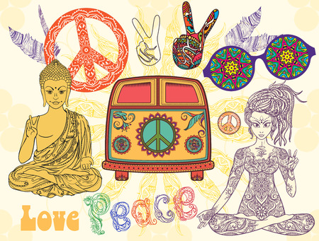 Hippie style set. Ornamental retro background. Love and Music with hand-written fonts, hand-drawn doodle background and textures. Hippy color vector illustration. Retro 1960s, 60s, 70s