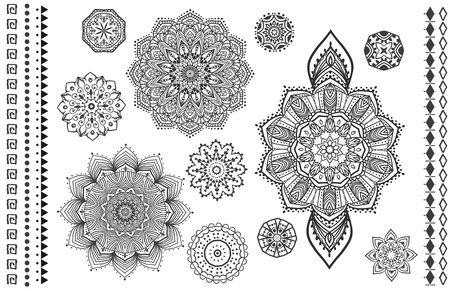 woman meditation: Mandala set and other elements. Vector. Mandala tattoo. Perfect  cards for any other kind of design, birthday and other holiday, kaleidoscope,  medallion, yoga, india, arabic Illustration
