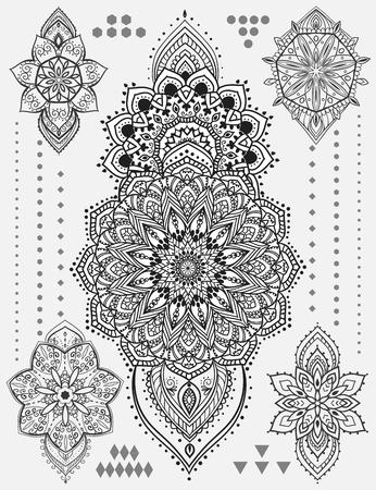 Zestaw Mandala i inne elementy. Wektor. Mandala tatuaż. Doskonałe karty dla jakiegokolwiek innego rodzaju wzorów, urodziny i inne święto, Kalejdoskop, medalion, joga, Indiach, arabski Ilustracje wektorowe