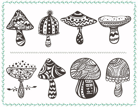 fairy toadstool: Card with ornamental mushrooms.  Vector hand drawn vegetables. Set for different designs, postcards or textures and patterns