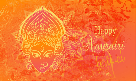 navratri: Ornament card with of Maa Durga. Illustration of Happy Navratri. Perfect  cards for any other kind of design, birthday and other holiday, kaleidoscope,  medallion, yoga, india, arabic Illustration