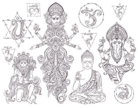 om: Set Hindu gods Ganesh, Hanuman, Navratri, Buddha. Geometric element hand drawn. Set chakras muladhara, sahasrara, ajna, vishuddha, anahata, manipura, svadhishana.