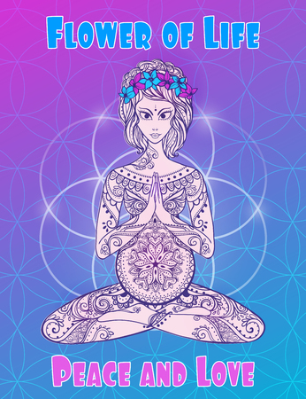 dreads: Pregnant girl meditates in the lotus position. Geometric element hand drawn. Psychedelic Poster in the style. Sacred Geometry. Yoga.  Promoted peace and love. Illustration