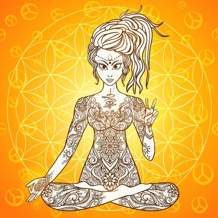 position d amour: Fille m�dite dans la position du lotus, la paix geste. G�om�trique �l�ment dessin� � la main. Affiche psych�d�lique dans le style. G�om�trie Sacr�e. Yoga. Promu paix et d'amour. Illustration