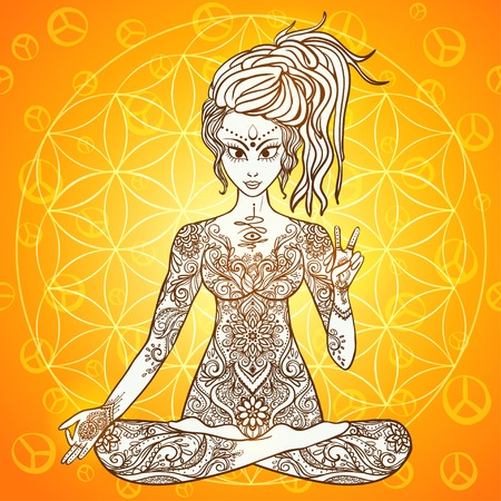 Girl meditates in the lotus position, peace gesture. Geometric element hand drawn. Psychedelic Poster in the style. Sacred Geometry. Yoga.  Promoted peace and love.