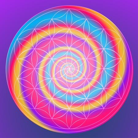 simbolo de la paz: Vector de fondo geométrica es. Modelo brillante. La geometría sagrada, flor de la vida. Vectores