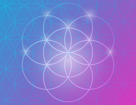 sacred lotus: Vector geometric background is. Bright pattern. Sacred geometry, flower of life.