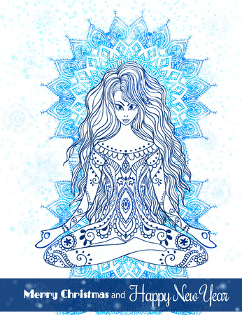 Greeting Card Merry Christmas and a Happy New Year. The girl in a pose of yoga, meditation on the background of big snowflakes, mandala or kaleidoscope.