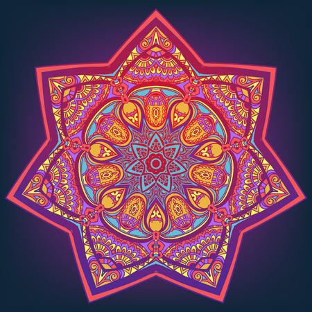Ornamento bella carta con mandala. Elemento cerchio geometrico realizzato in vettore. Carte perfette per qualsiasi altro tipo di design, compleanno e altre vacanze, caleidoscopio, medaglione, yoga, india, arabo
