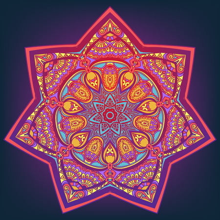 Ornamento tarjeta hermosa con la mandala. Elemento círculo geométrico hecho en vector. Tarjetas perfectas para cualquier otro tipo de diseño, cumpleaños y otras fiestas, caleidoscopio, medallón, el yoga, la india, árabe