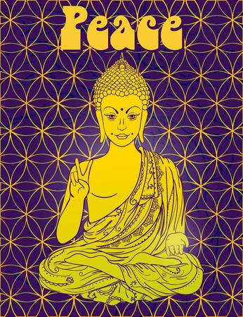 로터스 위치에서 부처님의 동상, 명상. 기하학적 요소 손으로 그린. 60 년대, 70 년대의 스타일 환각 포스터. 신성한 기하학. 평화와 사랑을 프로모션. 일러스트