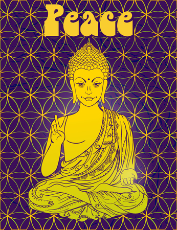 Statue of Buddha in the lotus position, meditation. Geometric element hand drawn. Psychedelic Poster in the style of 60's, 70's. Sacred Geometry. Promoted peace and love. Illustration