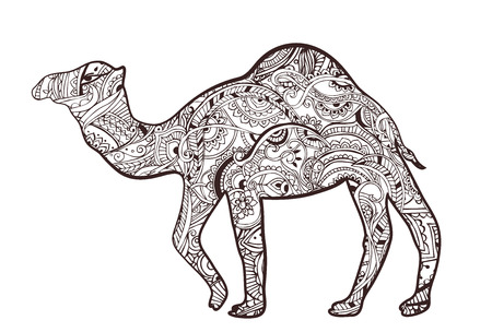 national animal: Greeting card with camel. Ornamemtal of animal made in vector. Perfect cards, or for any other kind of design, birthday and other holiday. Seamless hand drawn map with camel desert.